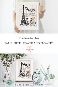 Eiffel Tower Wall Art Prints, Paris Bicycle Print, French Script Floral Wall Art #WallHanging #ParisThemeDecor #WallArtPrints #IllustrationPrint #EiffelTower #WhimsicalArt #VintageBicycle #PinkFloralArtwork #BicyclePoster #FloralWallArt