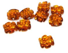 Gold Brown Orange Flower Lampwork Czech Glass Handmade Beads Set Solid Gold 24K Rondelle Round Tablet Shape Flat Original Authentic 15mm by CzechBeadsExclusive, $5.34  #bead #beads #czech #czechbeads #lampwork #etsy #glass