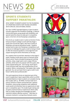 Durham Sixth Form profile the work of their students as Panathlon Young Leaders. Special Educational Needs, Young Leaders, Durham, Charity, Challenges, Children, Students, Profile, Young Children