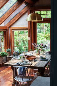 love the windows in this rustic home