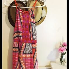 H&M Maxi Geometric Print Dress/Embroidered Pretty dress with bright Colors !Great for this Season.Wore 3 times Perfect Condition! H&M Dresses Maxi