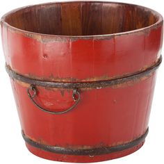 Add rustic appeal to your decor with this handcrafted wood bucket, featuring wrought iron hardware and a distressed red finish.    Prod...