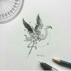 Geometric animals | flamingo  triangle / yastamp_ru