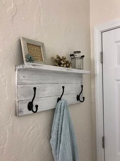 Rustic Coat Rack Wall Mounted Shelf, distressed hand-painted rustic wood farmhouse shelf with black hooks, wall coat rack with hooks Primitive Bathrooms, Wall Mounted Shelves, Modern Farmhouse Decor, Shelves, Rustic Wood, How To Distress Wood, Diy Furniture, Coat Rack Wall, Primitive Decorating