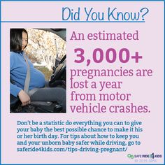 Did You Know? An estimated 3,000 pregnancies are lost a year from motor vehicle crashes. Don't be a statistic do everything you can to give your baby the best possible chance to make it his or her birth day.
