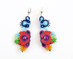 Long soutache earrings with jaspers by AnnaZukowska on Etsy