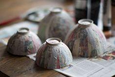 DIY Pappmaché - Schale aus Altpapier