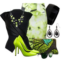 Black & Lime by emcf3548 on Polyvore featuring мода, House of Ronald, Sportalm, Nine West, Kenneth Jay Lane, Mixit and Kenneth Cole