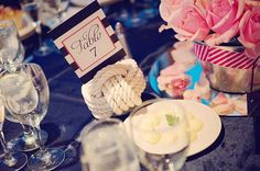 Nautical Wedding in Navy Blue & Pink | Confetti Daydreams - Nautical-themed knotted rope table numbers