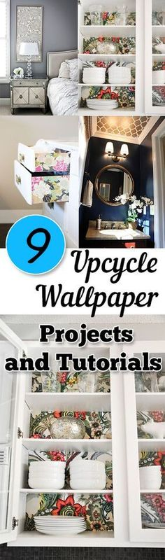 9 Upcycle Wallpaper Projects and Tutorials. DIY, DIY home projects, home décor, home, dream home, DIY. projects, home improvement, inexpensive home improvement, cheap home DIY.