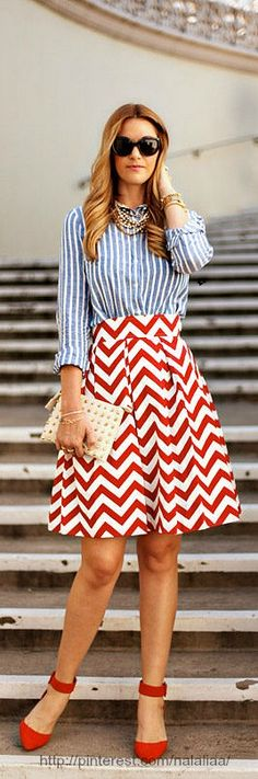 Street style -red, white and blue
