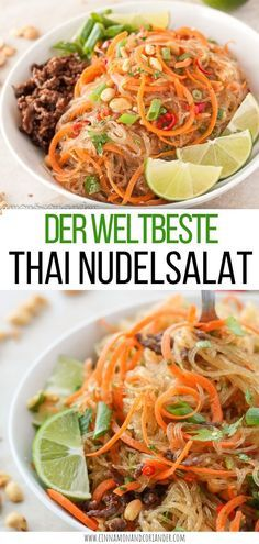 """Thai Glasnudel Salat mit Ingwer Limetten Dressing - Yum Woon SenThe best Thai noodle salad """"Yam Wun Sen"""" - a light, healthy Thai salad with glass noodles, minced beef, peanuts, coriander and refreshing ginger and lime dressing - perfect as a main co Thai Recipes, Asian Recipes, Mexican Food Recipes, Vegetarian Recipes, Healthy Recipes, Healthy Food, Thai Glass Noodle Salad, Korean Chicken, Korean Beef"""