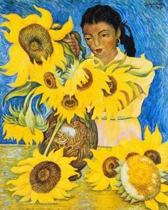 "Diego Rivera ""Girl with Sunflowers"", 1941 (Mexico, Art Deco, 20th cent.)"