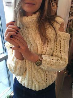Купить Вязаный свитер ручной работы - белый, свитер, свитер вязаный, свитер женский