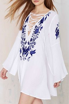 Plunging Neck Floral Embroidery Dress