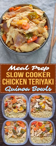 Meal Prep Slow Cooker Chicken Teriyaki Quinoa Bowls - Meal prep a healthy version of a takeout favorite! Four meals ready for the week, with chicken, veggies and quinoa. - ProjectMealPlan.com