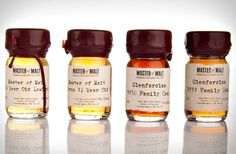 Novice and seasoned whiskey-drinkers alike will love Drinks by the Dram, a collection from online retailer Master of Malt that& comprised of tasting sets of exquisite tipples. Experts will appreciate the Old and Rare Whiskey tasting set, which comes Chocolate Advent Calendar, Rare Whiskey, Whiskey Label, Whisky Tasting, Master Of Malt, Liquor Bottles, Scotch Whisky, Bottle Design, Packaging