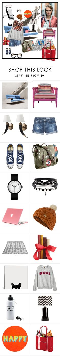"""""""rainy day"""" by mavihulett ❤ liked on Polyvore featuring WALL, AG Adriano Goldschmied, Converse, Marvel, Barbour, Surya, Lisa Perry, Picnic at Ascot and BP."""