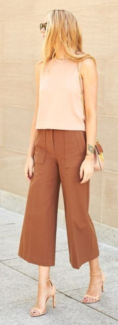 #spring #trends #fashionistas #outfitideas |Blush Top + Camel Wide Leg Ankle Pants |Fashion Jackson                                                                             Source