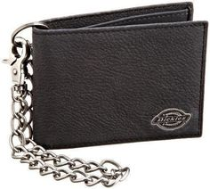 Dickies Men's Thin Slim Fold Black Import Wallet With Chain 100% Percent Leather
