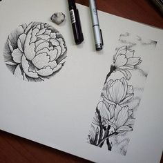 B&w flower in circle tattoo sketch