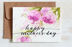Mothers day card unique, Hand Painted Watercolor cards, Hand lettered Watercolor Card, Mothers day card floral,Just for her, For Mom by sanketi on Etsy