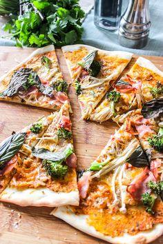 Thin-Crust Enoki And Broccoli Pizza Broccoli Pizza, Vegetable Pizza, Thin Crust, Cravings, Pasta, Recipes, Food, Recipies, Essen