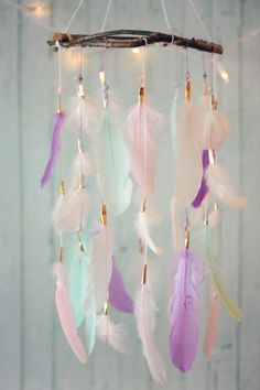 Dreamcatcher Mobile Lavender Pink Mint and by DreamkeepersLLC