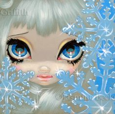 Faces of Faery 135 winter snowflake ice big eye fairy face art print by Jasmine Becket-Griffith 6x6. $13.99, via Etsy.