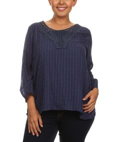 C.O.C. Navy Stripe Crochet Scoop Neck Top - Plus | zulily Cute  $  19.99