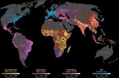 40+ maps about people and the world we live in, Where the world's people live, by economic status