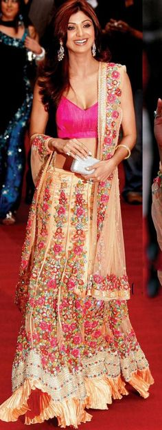 Shilpa Shetty at a London Premiere in a Beautiful Peach, Embriodred Lehenga