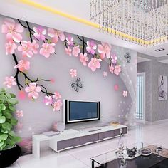 Custom Korean flower living room den wall covering non-woven fabric wallpaper bedroom TV sofa background wall paper murals Wall Unit Designs, Living Room Tv Unit Designs, Tv Wall Design, Fabric Wallpaper, Wall Wallpaper, Wallpaper Ideas, Living Room Wallpaper, Wallpaper Wallpapers, Modern Tv Wall Units