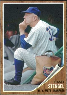 Casey Stengel, New York Mets first manager. Pictured at the Polo Grounds, 1962.  http://metsfantasycards.blogspot.com/
