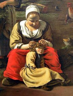 Delousing scene. Detail of a painting by Jan Siberechts, Farmyard - Jan Siberechts