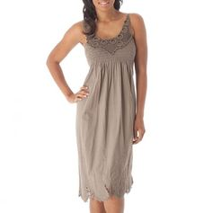 Smocked Yoke Crochet Trim Dress