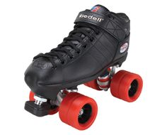 R3 Derby   Reinforced PowerDyne Thrust nylon plates round out the R3 Derby skate for a combination of quality and value that simply can't be matched. Boot: R3 Black Plate: PowerDyne Thrust Nylon Wheels: Radar Flat Out Red Bearings: KwiK ABEC-5 Toe Stop: Midi Gripper  $149.00