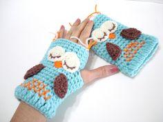 Crochet Pattern Gloves Pattern Owl Gloves Pattern por AllSoCute
