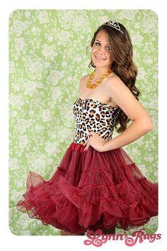 Leopard Burgundy TUTU Prom Dress Strapless Party Petticoat Lolita Handmade Punk