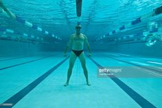 Stock Photo : Underwater shot of empty olympic size swimming pool showing marked lanes