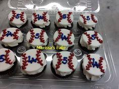 Dodgers birthday cupcakes. Visit us Facebook.com/marissa'scake or www.marissa'scake.com