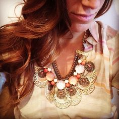 Coral and Gold Statement Necklace