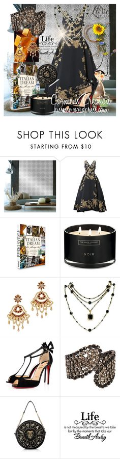 """Journi's Midnight Globe Awards Outfit"" by carmen-ireland ❤ liked on Polyvore featuring Tempaper, Oscar de la Renta, Assouline Publishing, The White Company, Mercedes Salazar, Rachel Reinhardt, Christian Louboutin, Krystal, Preciously and WALL"