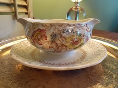 GRAVY BOAT with Attached Serving Tray by VintageCreativeAccen