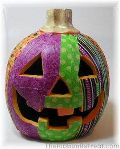 DIY Halloween : DIY Fabric Mod Podge Pumpkins