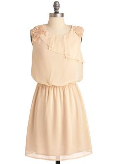 Buttercream of the Crop Dress - Mid-length, Solid, Flower, Pleats, Vintage Inspired, Cream, Party, Sleeveless