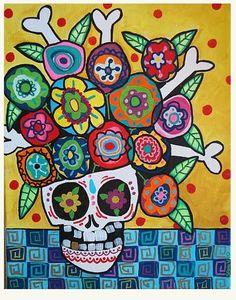 Art: Day of the Dead Flowers 2 by Artist Sami Valens Day Of The Dead Artwork, Day Of The Dead Skull, Sugar Skull Art, Sugar Skulls, Candy Skulls, Halloween Art, Halloween Labels, Halloween Foods, Homemade Halloween