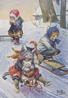 cats on sleigh
