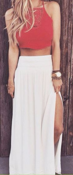 Red crop top + maxi skirt.