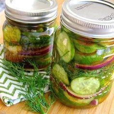 Bill's Spicy Refrigerator Pickles Homemade Refrigerator Pickles, Refrigerator Pickle Recipes, Homemade Pickles, Icebox Pickles, Pickled Okra, Pickled Peaches, Spicy Pickles, Pickles Recipe, Pickling Cucumbers